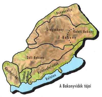 Bakonyi tájak térkép