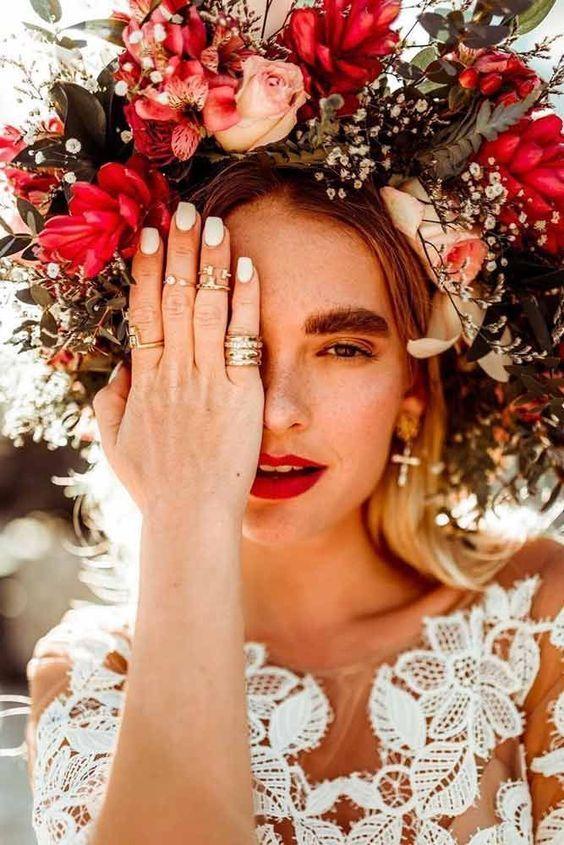 Virágkorina bohém esküvőre