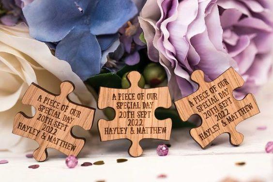 Puzzle ajándék az esküvői vendégeknek